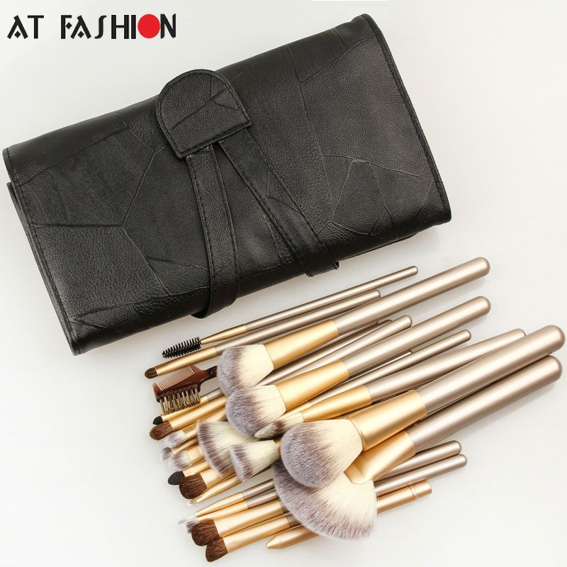 Professional 24pcs Makeup Brushes Set Cosmetic Make Up Tools Set Fan Foundation Powder Brush Eyeliner Brushes  With Leather Case