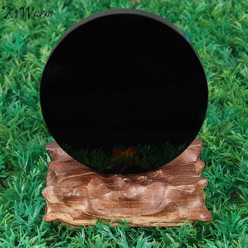 KiWarm New Arrival 100mm Black Obsidian Scrying Mirror Crystal Gemstone Healing <font><b>Stone</b></font> Feng Shui Gift Home Shop Decoration Crafts