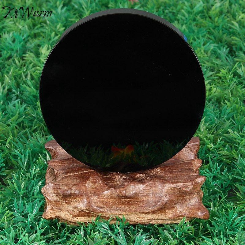 KiWarm Nouvelle Arrivée 100mm Noir Obsidienne Divination Miroir Cristal Précieuses Guérison Pierre Feng Shui Cadeau Accueil Boutique Décoration Artisanat