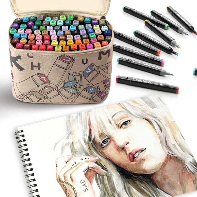 touchmark 30/40/60/80 Color Dual Head Art Marker Set Alcohol Sketch Markers Pen for Artist Drawing Manga Design Art Supplier