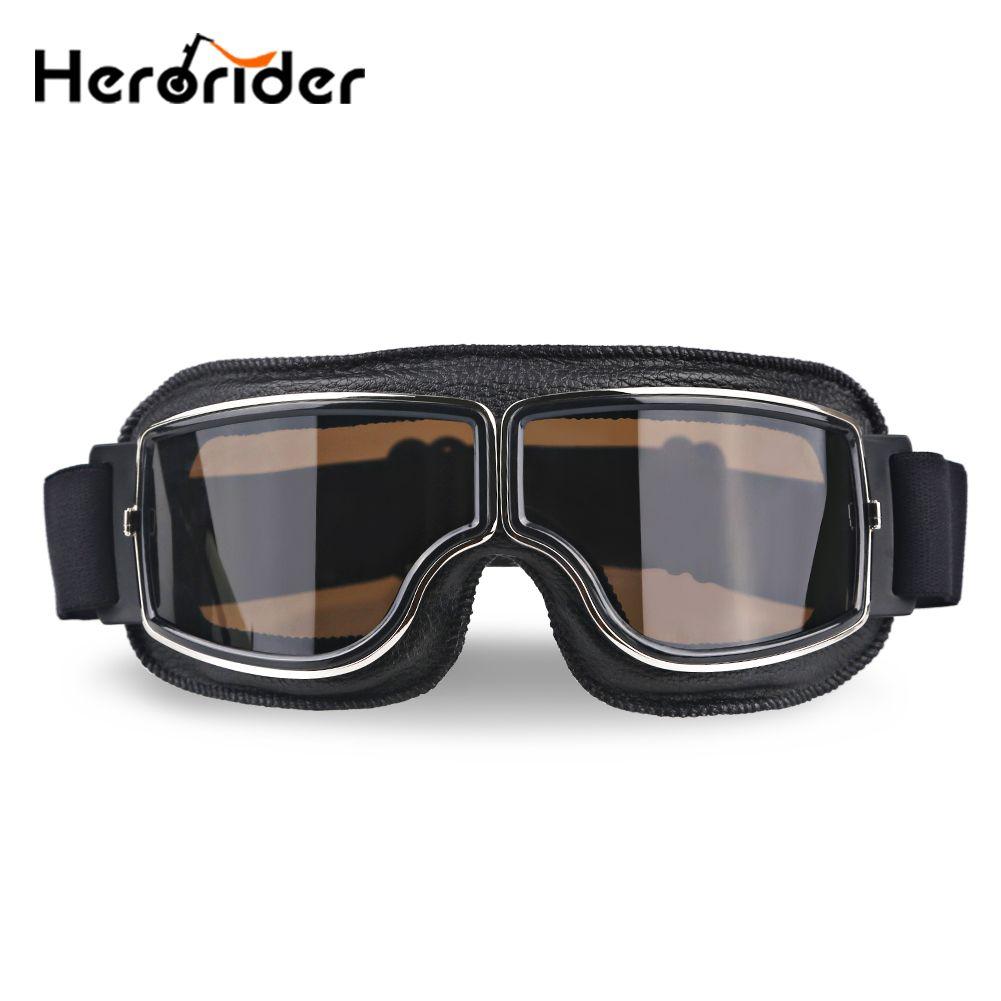 Herorider Universal Vintage Motorcycle Goggles Pilot Aviator Motorbike <font><b>Scooter</b></font> Biker Glasses Helmet Goggles Foldable For Harley