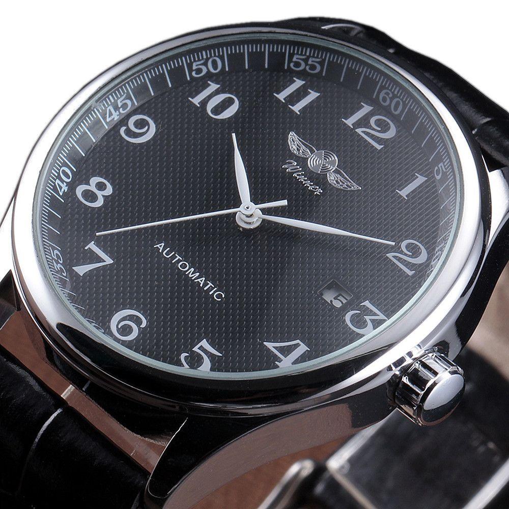 Winner Luxury Men Classic Date automatic Mechanical Watch Self-Winding Skeleton Black Leather/Stainless Steel Strap Wrist Watch