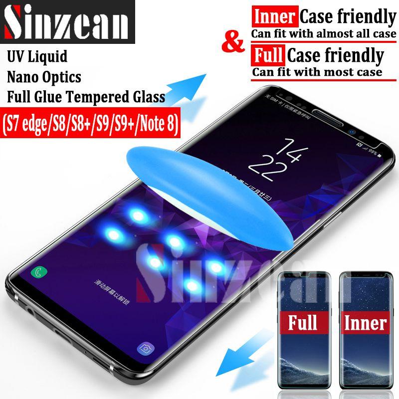 Sinzean 3pcs UV full glue tempered glass for samsung Note 9/S9 plus/s9/s8 plus/s7 edge/note 8 UV full adhesive glass