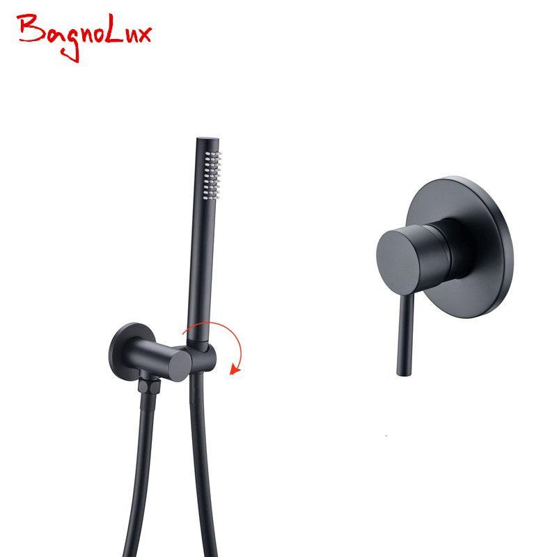 Bagnolux 5 Yr Warranty Solid Brass Matte Black Bathroom Handheld Shower Head With Hose And Bracket Holder With Shower Valve Kit