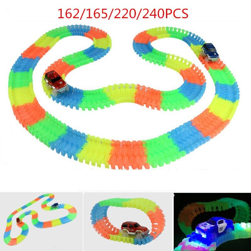 Miracle Glow Racing Track Set Flexible Track Led Car Toy 162/165/220/240pcs Race Track + 1pc LED Car