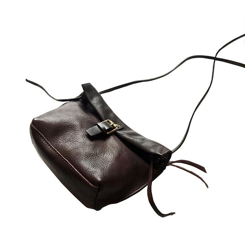 2018 women bag genuine leather retro small black female crossbody bags