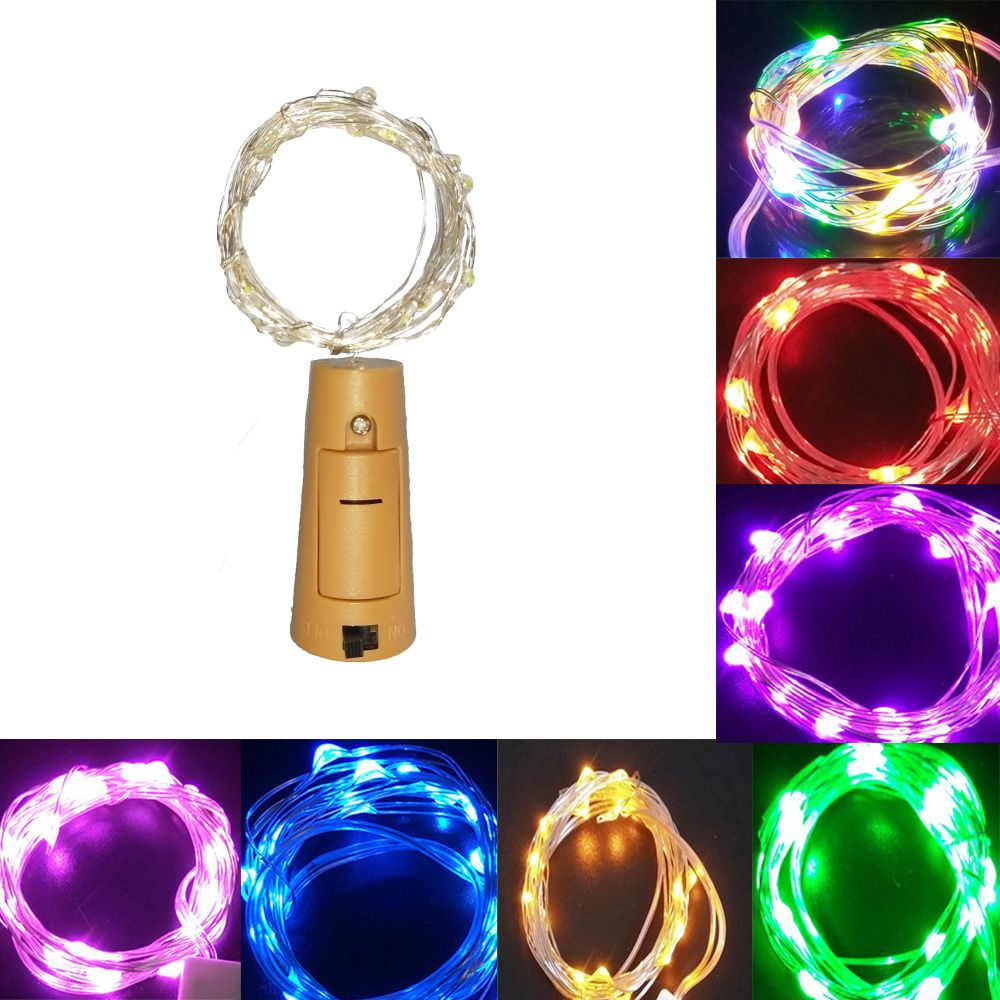 New 2M 20LED lamp Cork Shaped Bottle Stopper Light Glass Wine LED Wire fairy String Lights Bar Party Supplies Wedding Decoration