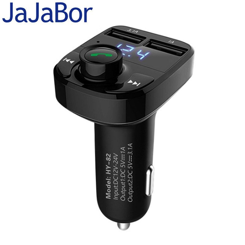 JaJaBor Car MP3 Audio Player Bluetooth Car Kit FM Transmitter Handsfree Calling 5V 4.1A Dual USB Car Charger Phone Charger