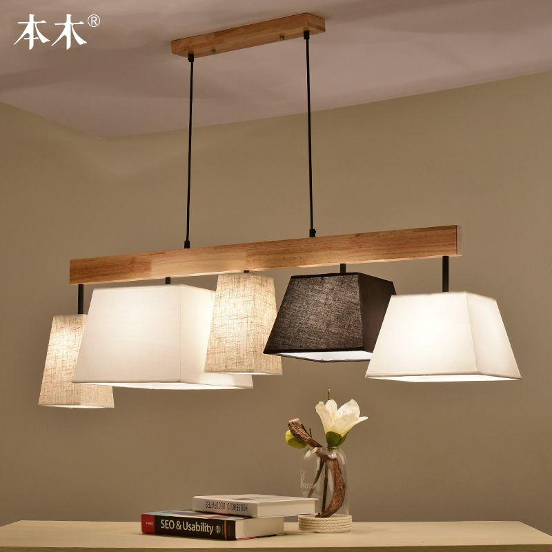 Nordic massivholz anhänger licht stoff tuch lampenschirm Bar esszimmer Suspension Küche hängen beleuchtung