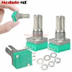 5 Pcs 6mm B10K 3Pin Unique Linéaire Potentiomètre Rotatif 15mm Knurled Arbre Potentiomètres 10 K Ohm Avec Des Noix et Rondelles