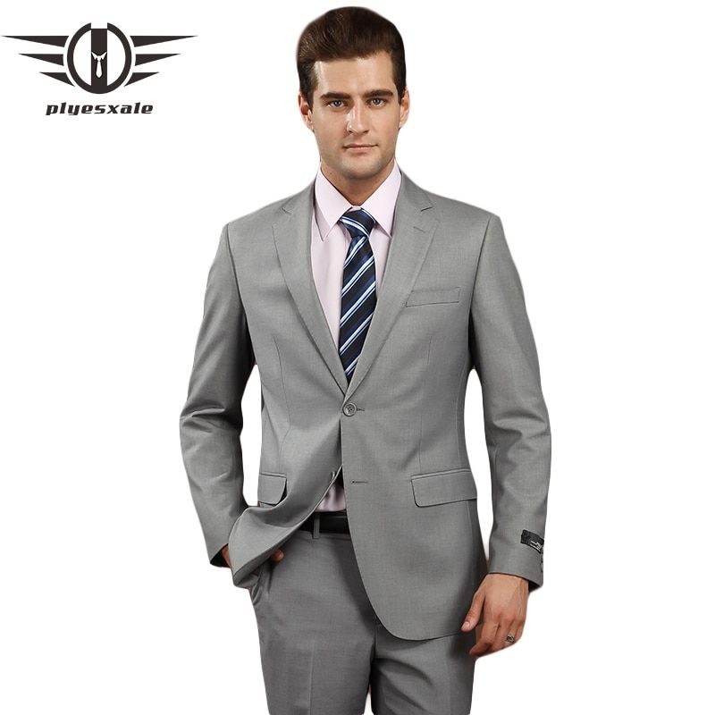 Plyesxale Men Suits 2018 Brand Clothing Slim Fit Men Formal Suit Gray Mens Suits Wedding Groom 4XL Wool Blazer With Pants Q74