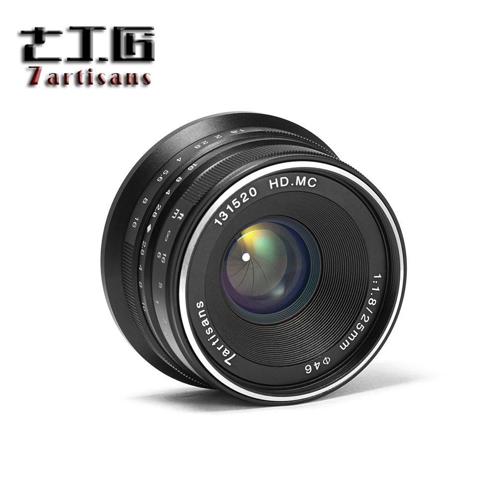 7 artisans 25mm F/1.8 Premier Objectif à Tous Unique Série pour Fuji/pour E Montage/ pour Micro 4/3 Caméras A7 A7II A7R A7RII G1 G2 G3