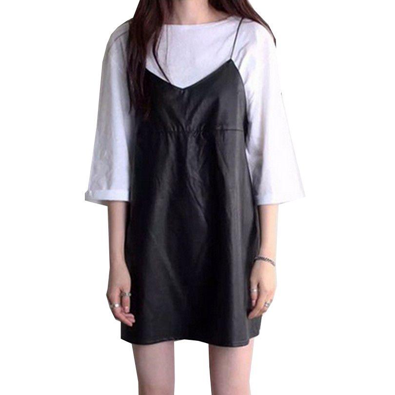 PU cuir femmes robes licou Spaghetti sangle Vestidos solide noir Robe col en V 2019 printemps Mini Robe femme nouvelle Robe de mode
