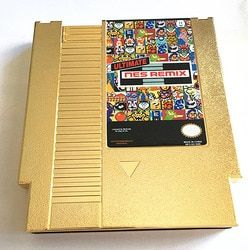 Golden Color Metal Plating The Ultimate NES Remix 154 in1 Game Cartridge For 8 Bit Game Player Drop Shipping