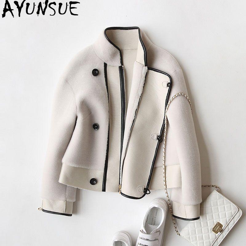 AYUNSUE 2018 Real Sheep Shearing Fur Coat Winter Women's fur Coats Genuine Wool Jackets For Women Motor PU Leather Jacket WYQ913