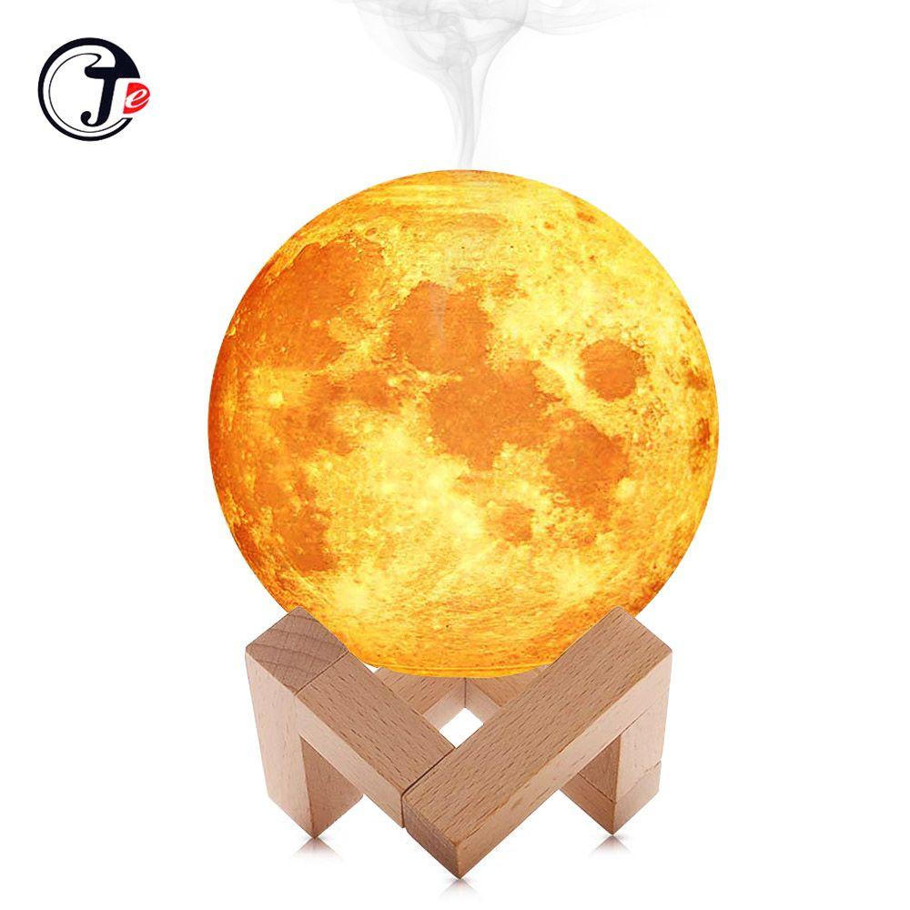 Nouveau 880 ML humidificateur d'air 3D lune lampe diffuseur de lumière arôme huile essentielle USB ultrasons humidificateur nuit Cool brouillard purificateur