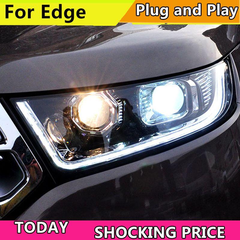 Auto Styling für Ford Edge Scheinwerfer 2015-2018 Neue Rand LED scheinwerfer DRL Hid Scheinwerfer Angel Eye Bi Xenon Strahl zubehör