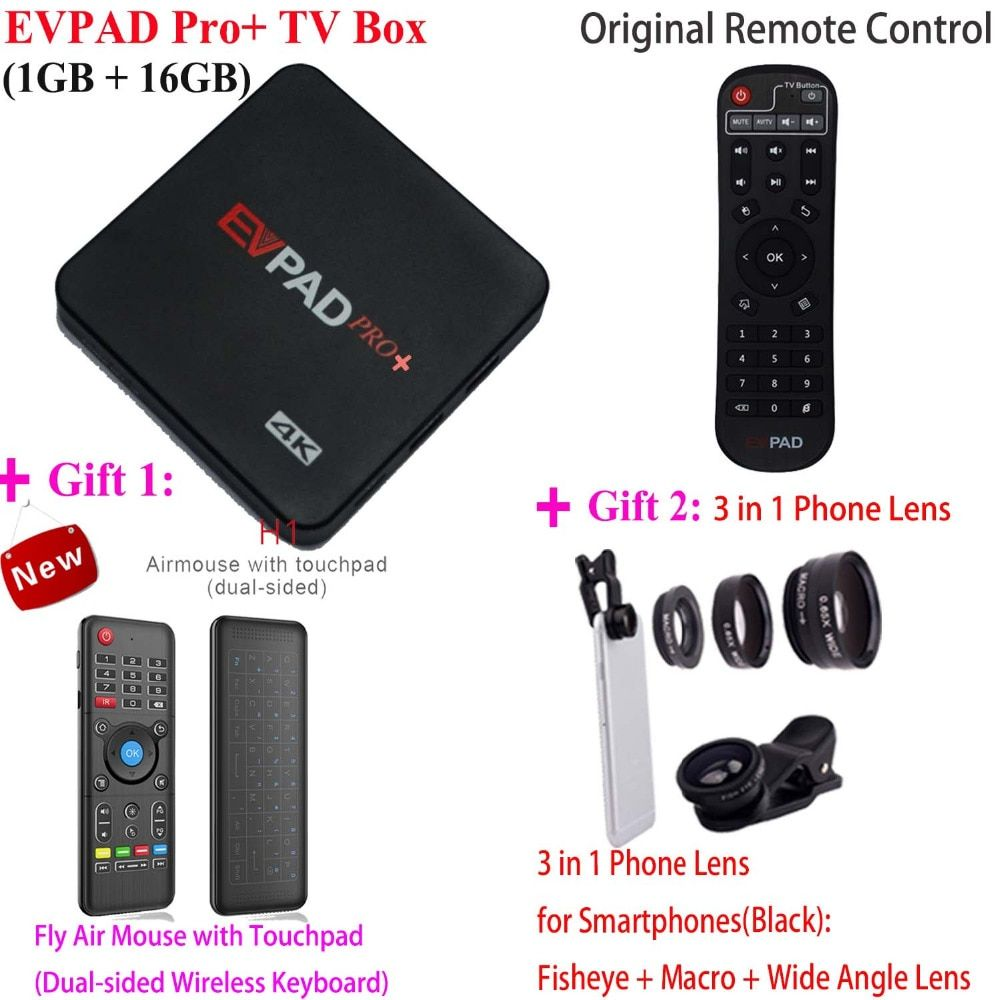 2018 Hot Sell New EVPAD 2S+ Pro+ Korean Japan EVPAD PRO+ IPTV Chinese HongKong Malaysia Taiwan US Android TV Box Streaming Box