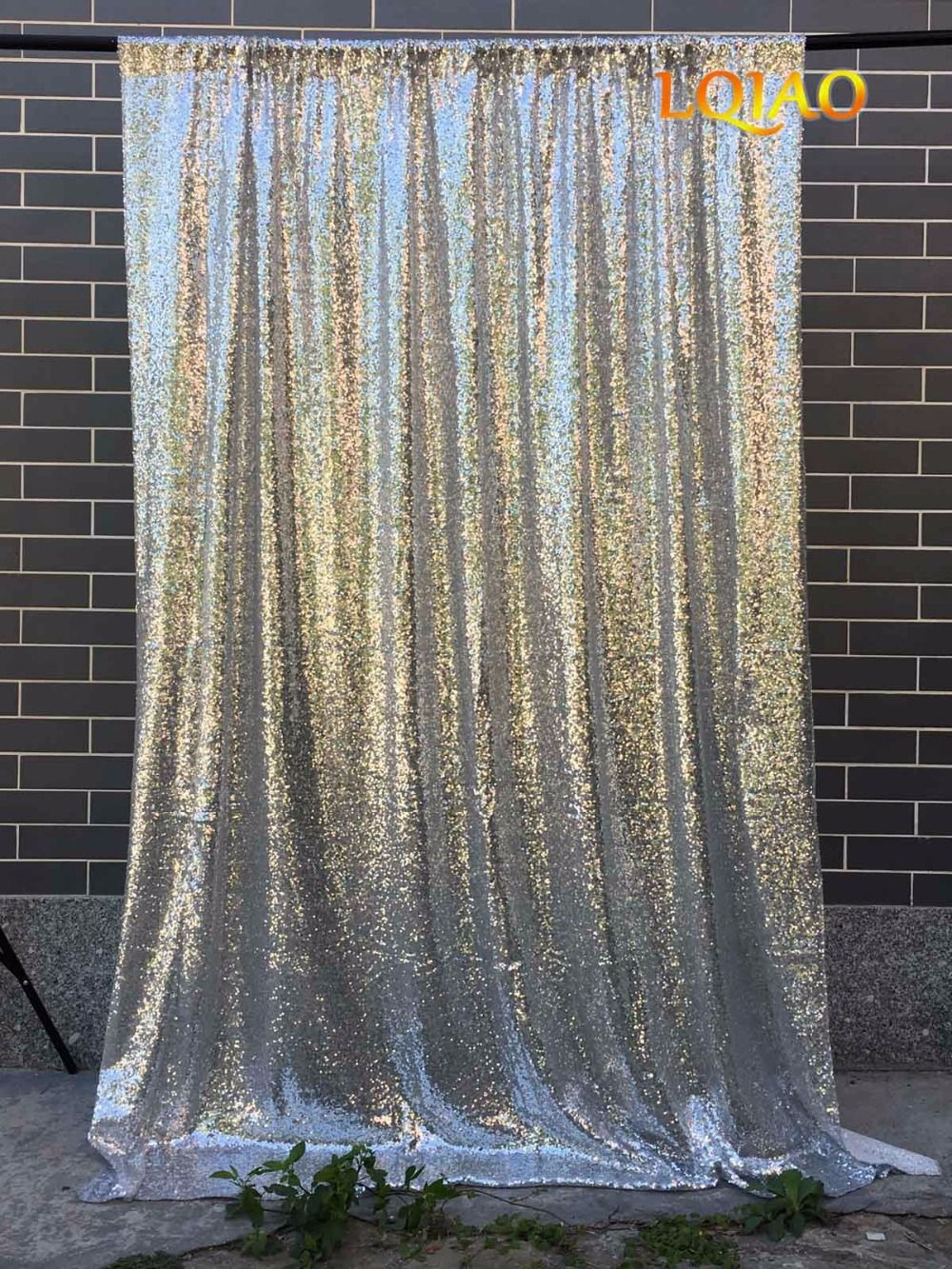 4ftx8ft/4ftx10ft Glitter Silver/Gold Sequin Backdrop Wedding Photo Booth Backdrop for Party Decoration Photography Background