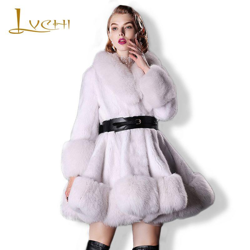 LVCHI Women knitted Real Fur Coat Leather Lantern Sleeve Full Pelt Mink Fur With Fox Fur Collar V-Neck Women Warm Mink OL Coat