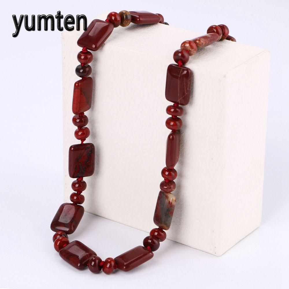 Yumten Red Jasper Beads Chain Stone Necklace Women Gemstone Fashion Jewelry Kettingen Voor Vrouwen Bijoux Femme Collier Luxe