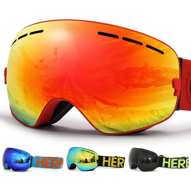 New HERBA brand ski goggles Double <font><b>Lens</b></font> UV400 Anti-fog Adult Snowboard Skiing Glasses Women Men Snow Eyewear