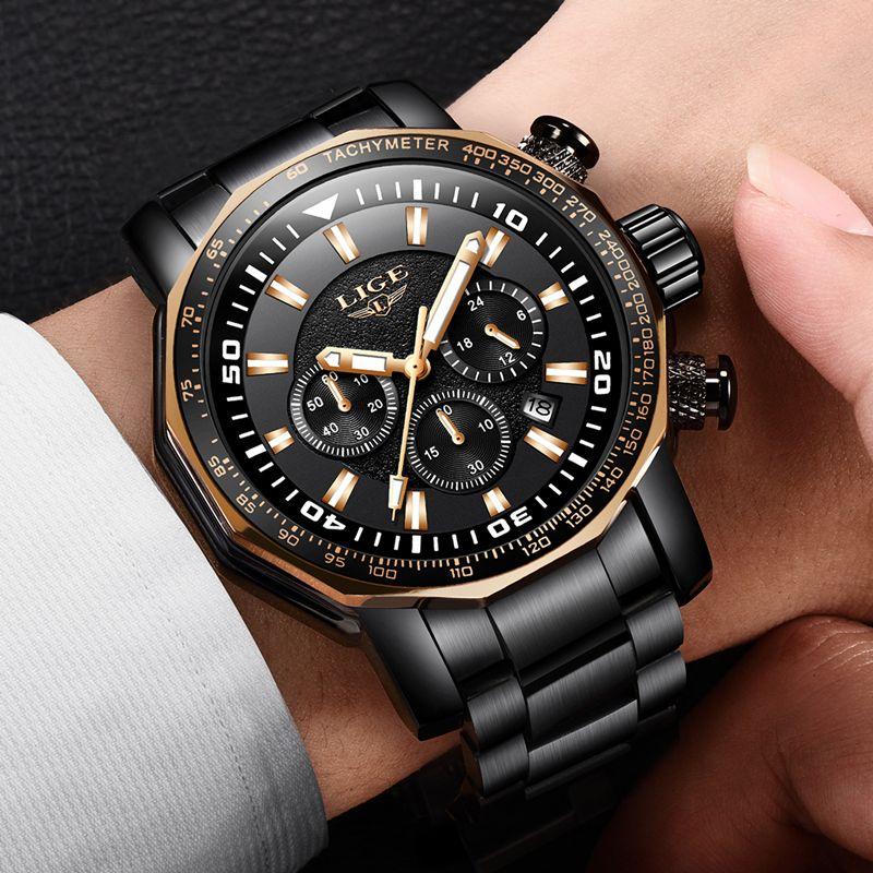 Uhren Hombre 2018 Neue LIGE Mode Herren Uhren Top Luxus Marke Business Quarzuhr Männer Sport Wasserdichte Große Zifferblatt Uhr + Box
