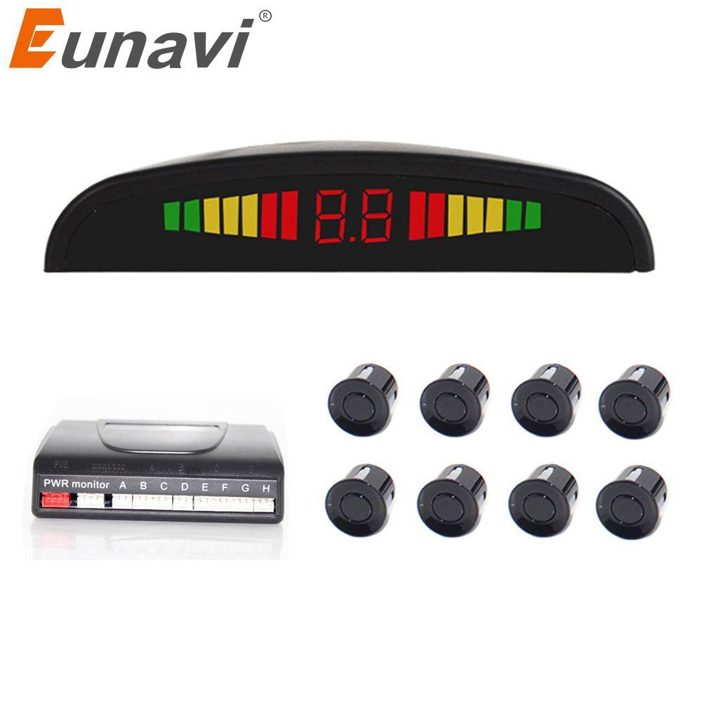 2018 Zeitlich begrenzte Neue Eunavi Auto Detector Umkehr Radar Led-anzeige Einparkhilfe 8 Reverse Auto-detektor System Parktronic