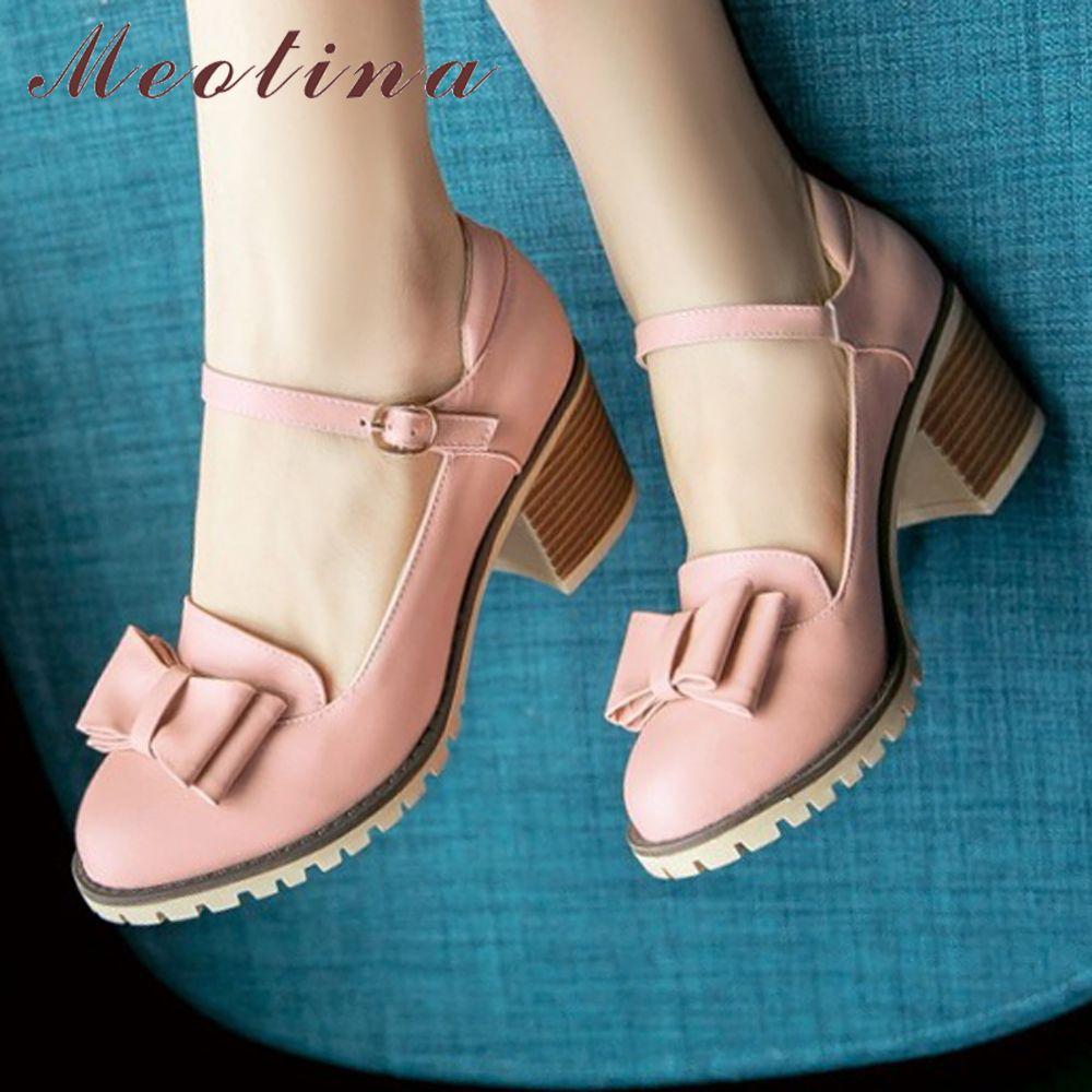 Meotina femmes pompes Lolita chaussures plate-forme talons hauts rose Mary Jane chaussures arc bloc talon dames chaussures de fête grande taille 33-43