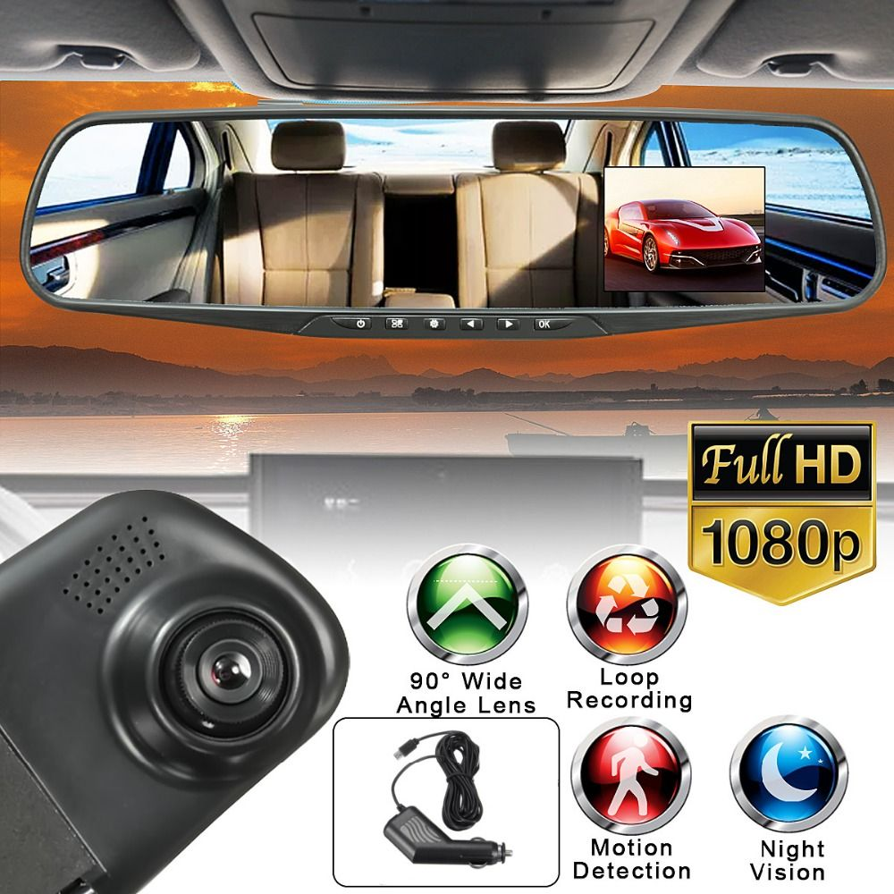 HD 1080P 2.8in LCD Display Screen 90 Degree Rearview Mirror Dash Cam Camera Video Recorder NightVision DVR 128M memory Card Free