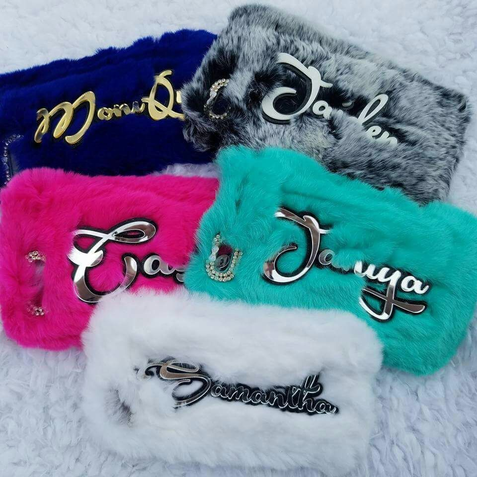 For iphone 5 5s SE 6 6S 7 8 X PLUS Luxury Cute Fashion Exclusive diamond Customize Personal Name Hear Soft Rabbit Fur Puff case