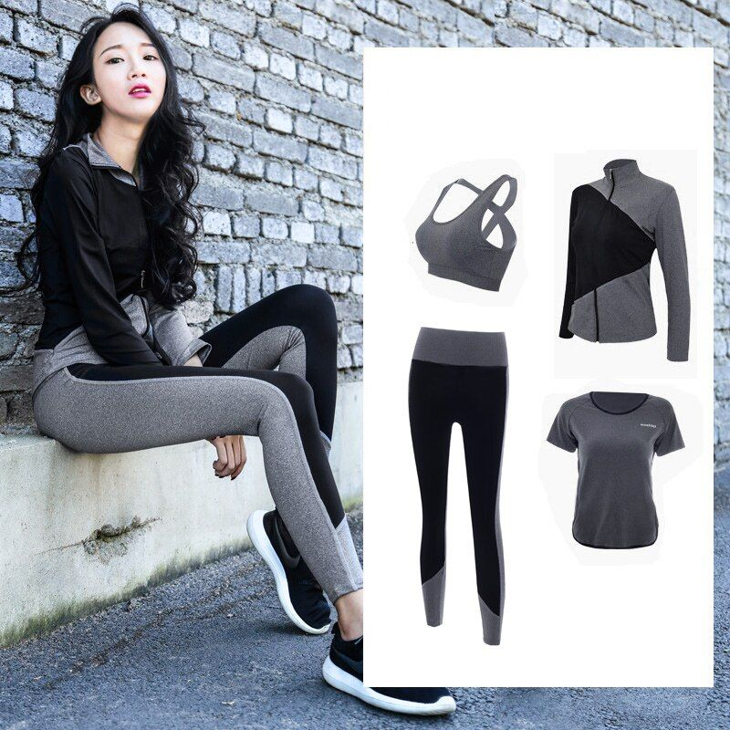 2018 New 4 Piece Sport Suit Women Yoga Set Fitness Hoodies Tights Plus Size Jogging Breathable Exercise Sports Bras Gym Clothing