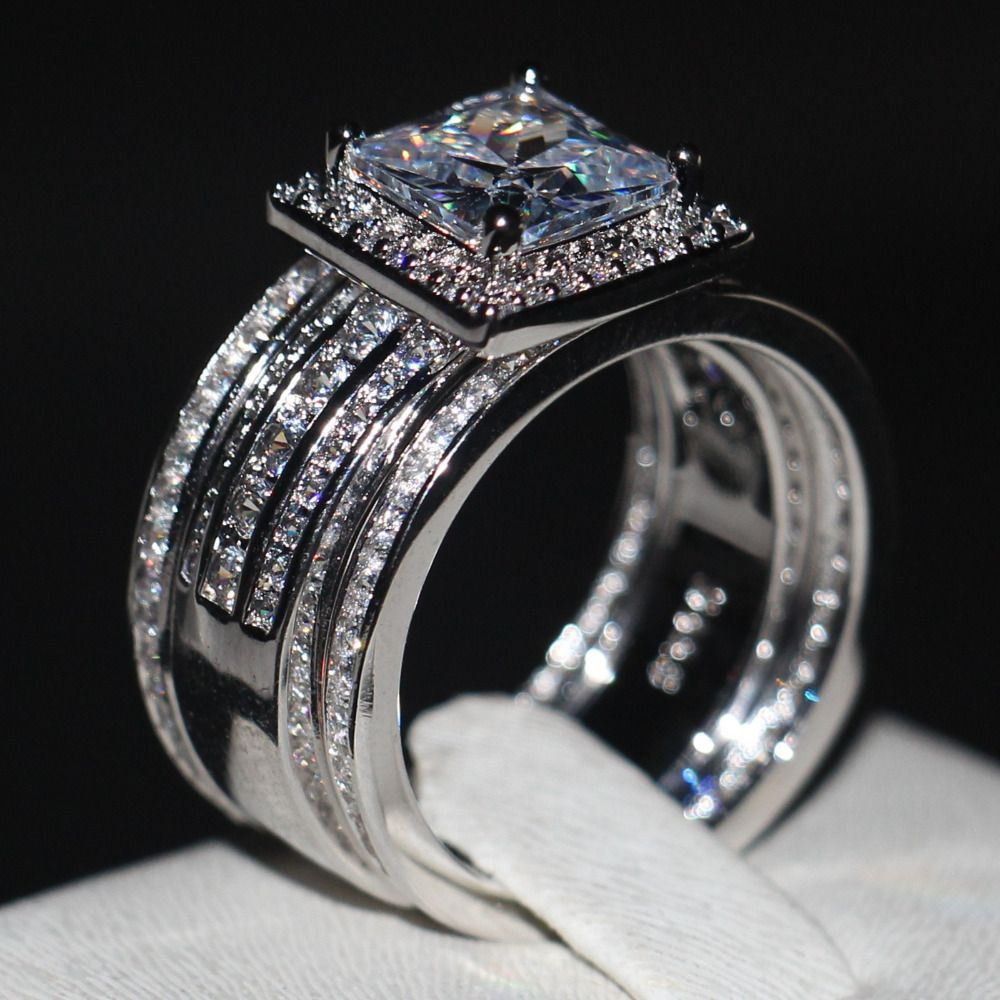 Luxury Men women Fashion ring Princess cut 3ct AAAAA zircon cz 925 Sterling silver Couple Engagement Wedding Band Ring set