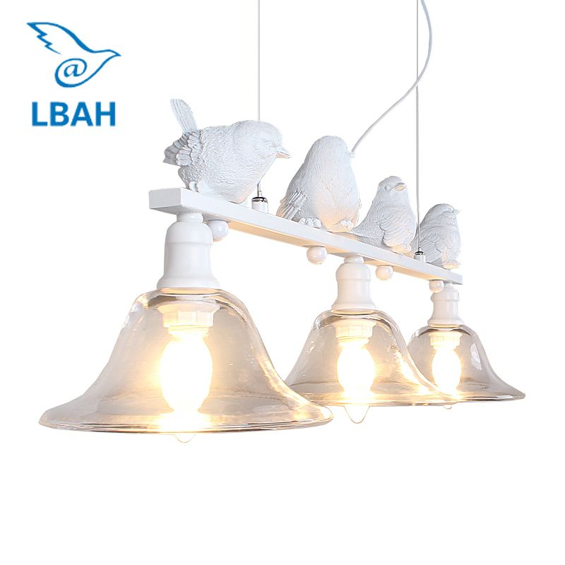 LBAH Contemporary and contracted rural restaurant lamp droplight three creative personality bar led lamps birds droplight