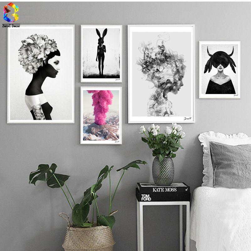 Nordique Cuadros Affiches Et Gravures Noir Blanc Wall Art Toile Peinture Fille Image Pour Salon Scandinave Décor À La Maison
