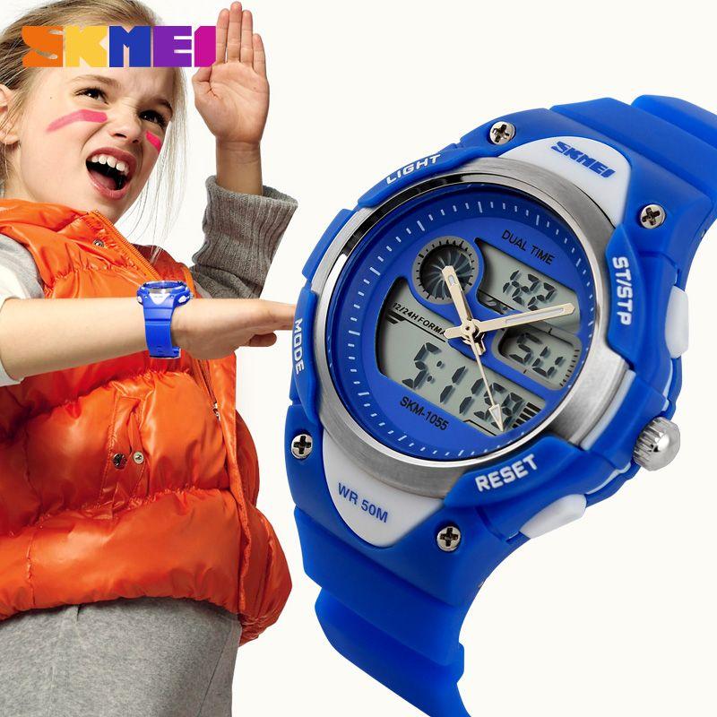 Skmei niños LED Digital niños reloj del deporte del cuarzo de la manera al aire libre Relojes deportivos 50 m Boy impermeable Niñas muñeca Relojes