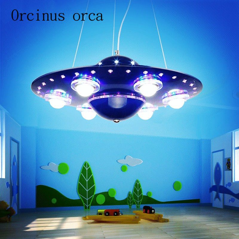 remote controlled UFO chandelier children's room boy bedroom LED flying saucer lights creative cartoon spacecraft Chandelier
