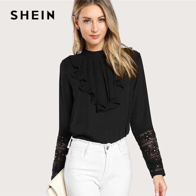 SHEIN <font><b>Black</b></font> Streetwear Elegant Office Lady Minimalist Flounce Neck Lace Cuff Ruffle Solid Blouse Autumn Women Workwear Shirt Top