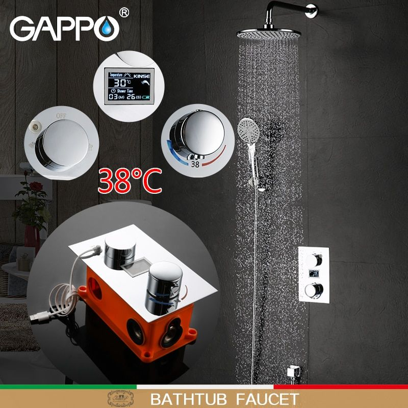 GAPPO badewanne wasserhahn wasserfall bad wasserhahn wand montiert mischbatterie bad regen thermostat badewanne armaturen