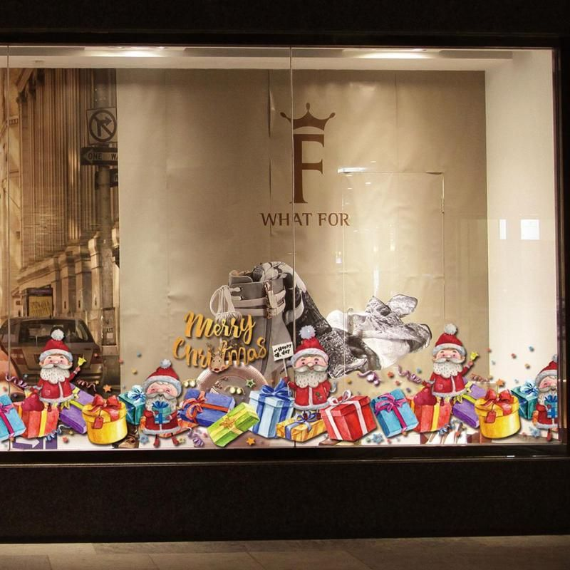 Weihnachten Dekoration Fenster Glas Aufkleber Frohe Weihnachten Santa Claus Schnee PVC Abnehmbare Wand Aufkleber für Weihnachten Home Decals