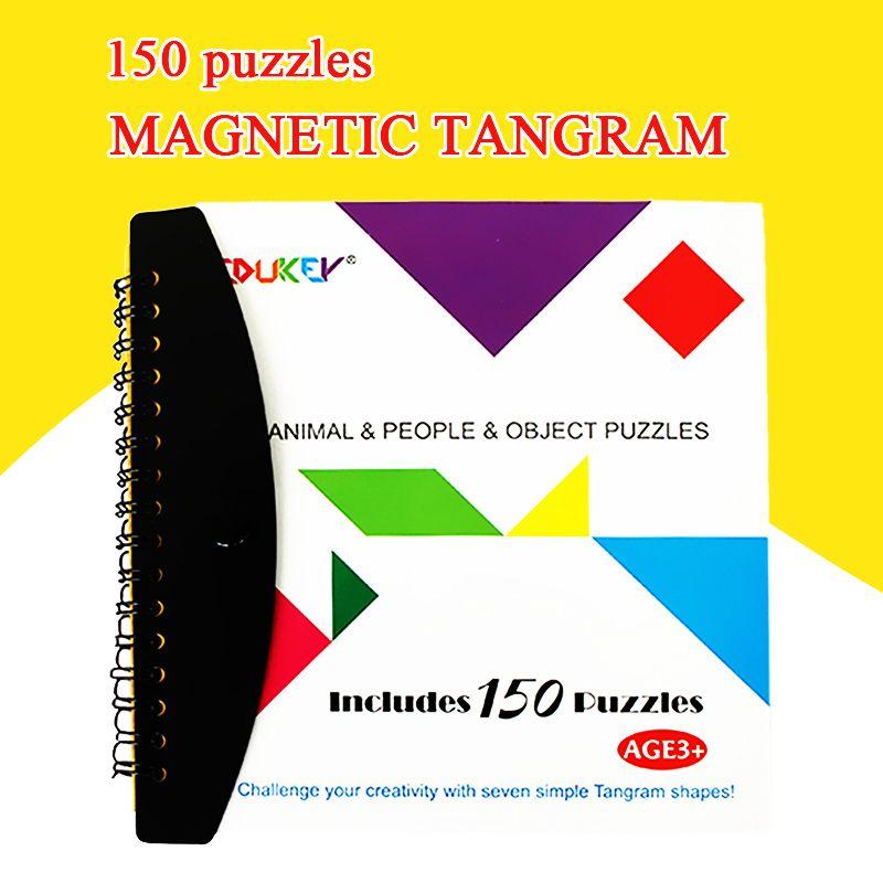 150/72 Puzzles magnétiques Tangram enfants jouets défi votre qi un Montessori éducatif livre magique costume pour 3-100 ans passe-temps cadeau