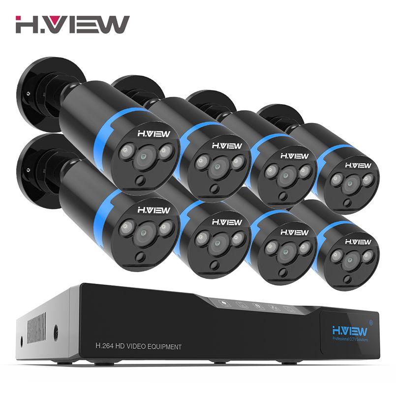 H. ansicht 16CH Überwachung System 8 1080 p Outdoor Sicherheit Kamera 16CH CCTV DVR Kit Video Überwachung iPhone Android Remote View