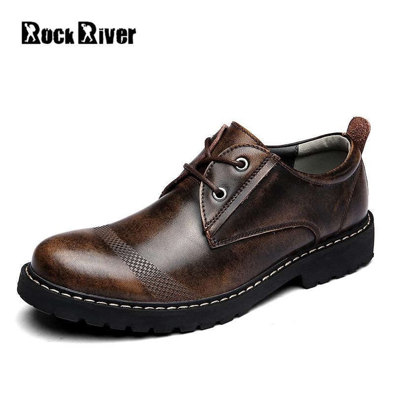 Рок река бренд Сапоги Челси из натуральной кожи Для мужчин офисные Ботильоны 2017 Кружево до Деловые повседневные туфли Для мужчин bota Masculina