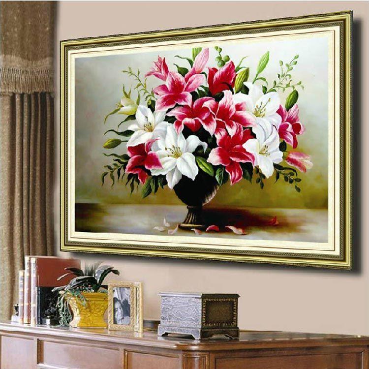 Couture, DMC bricolage point de croix, kit de broderie, fleur de lys point de croix décoration peinture décoration murale en gros cadeau