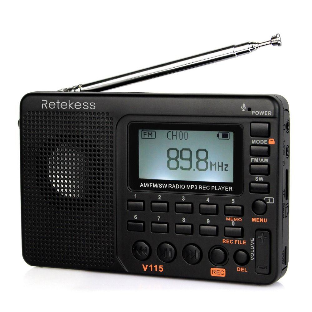 Retekess V115 Portable Radio FM/AM/SW World Band Receiver MP3 <font><b>Player</b></font> REC Recorder With Sleep Timer Black FM Radio Recorder