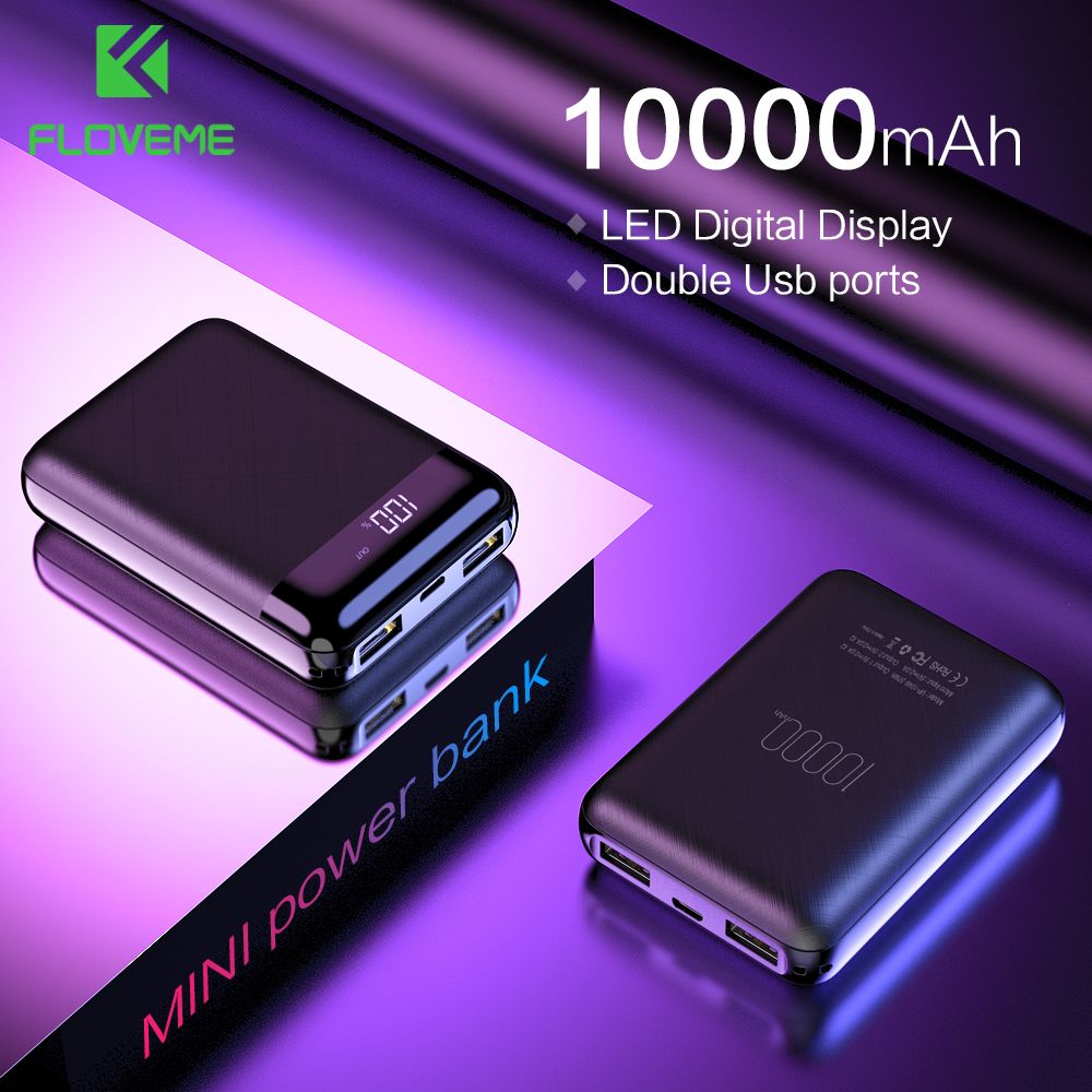 FLOVEME Mini Power Bank 10000mAh For Xiaomi Mi Powerbank Pover Bank Charger Dual Usb Ports External Battery Poverbank Portable