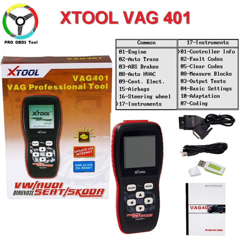 Newest 100% XTOOL VAG401 OBD2 Auto Diagnostic Tool For Audi/VW/SEAT/SKODA VAG 401 Code Reader Free Update Online Free Shipping