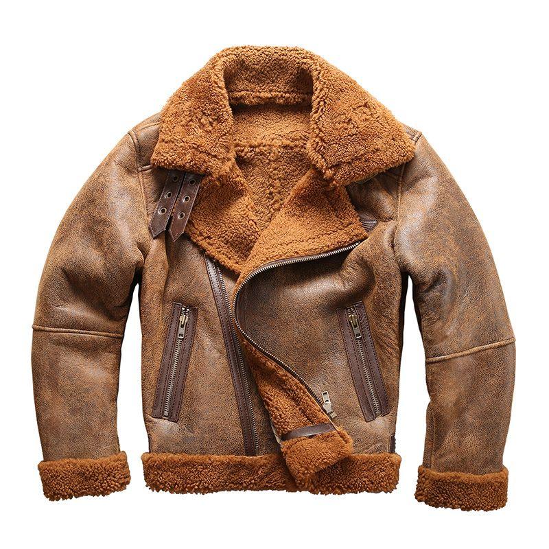 european size high quality super warm genuine sheep leather jacket mens big size B3 shearling bomber military fur jacket 8006