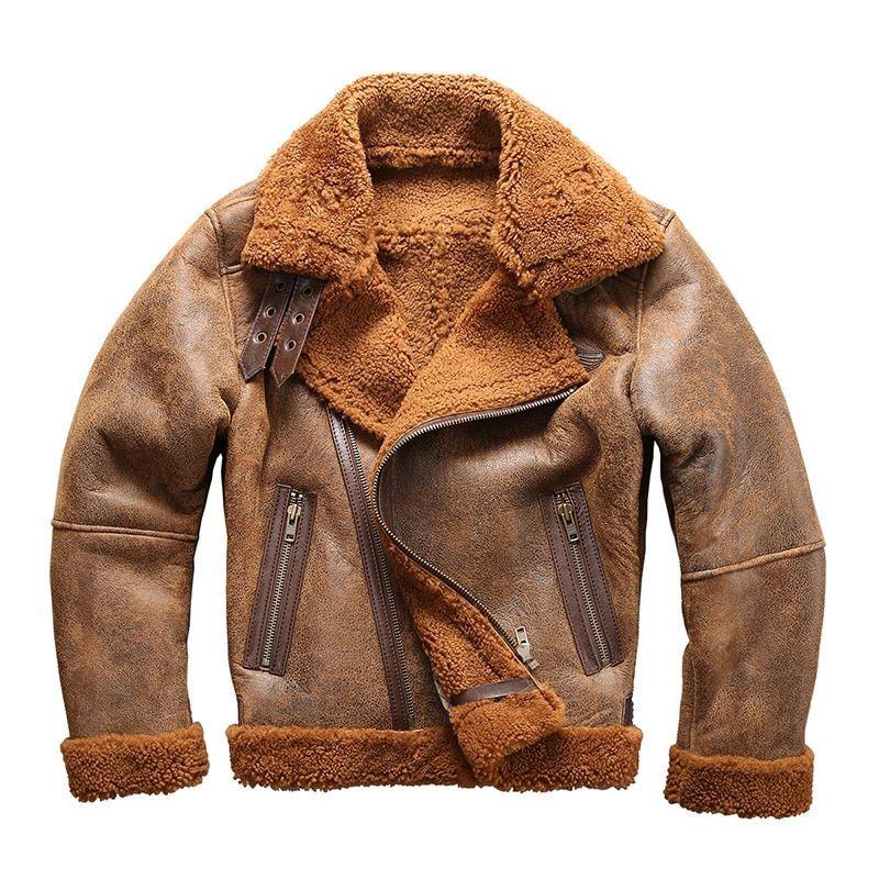 european size high quality super warm genuine sheep leather jacket mens big size B3 shearling bomber military fur jacket 8006