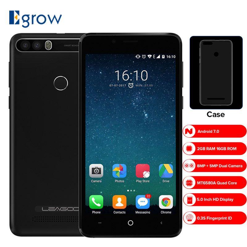 LEAGOO KIICAA POWER Dual Camera Mobile Phone Android 7.0 4000mAh 5.0 Inch MT6580A Quad Core 2GB RAM 16GB Fingerprint Smartphone
